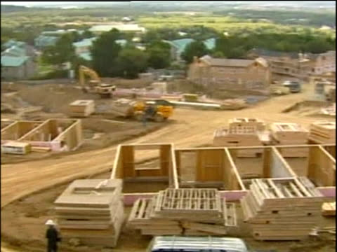 partially constructed westernstyle housing development for oil company workers sakhalin island - erezione video stock e b–roll