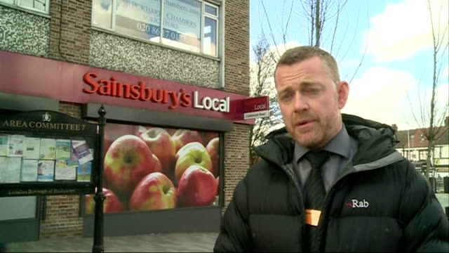 partially sighted man with guide dog refused entry to sainsbury's store in ilford rupert newman interview sot int **secret filming** gary mazin and... - briglia video stock e b–roll