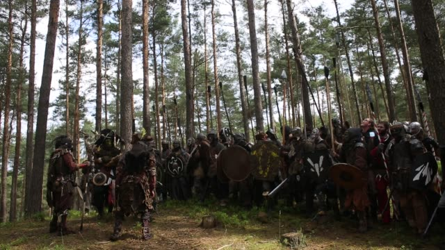 participant dressed as characters from 'the hobbit' book by j. r. r. tolkien, attend the reenactment of the 'battle of five armies' in a forest on... - the hobbit: the battle of the five armies stock videos & royalty-free footage