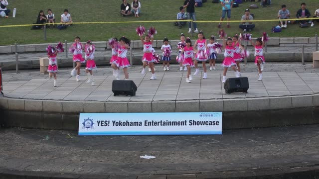 yokohama kanagawa prefecture japan june 3 2017 a participant team of cheerleaders dance on the stage of yes yokohama entertainment showcase as a part... - participant stock videos and b-roll footage