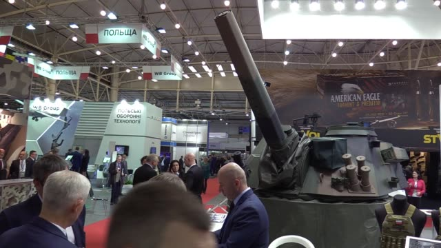 Participants and visitors attend the Arms and Security 2016 exhibition in Kiev Ukraine11 October 2016 The XII International Specialized Exhibition...