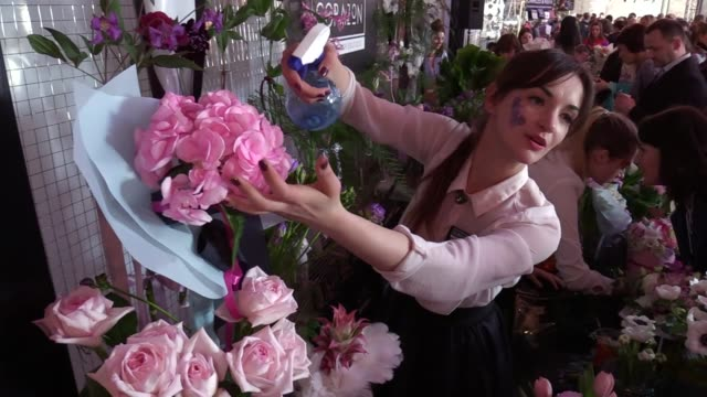 Participants and visitors attend the flower fair Kyiv Flower Market in Kiev Ukraine 02 April 2017 The event bring together lovers of flowers living...