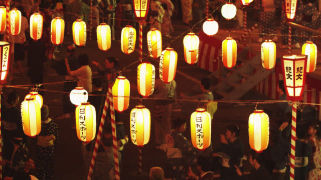 ms participants any age dance at bon festival / tokyo, tokyo-to, japan   - 伝統行事点の映像素材/bロール