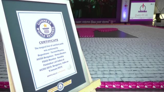 participants at a medical congress in india have set a new guinness world record for the longest line of sanitary pads in a move aimed at promoting... - menstruation stock videos & royalty-free footage