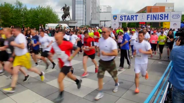 Participants compete during 16th Prishtina International Half Marathon in Pristina Kosovo on May 15 2016