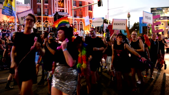 participants gets in the spirit during the 2019 sydney gay lesbian mardi gras parade on march 02 2019 in sydney australia the sydney mardi gras... - gras stock videos and b-roll footage