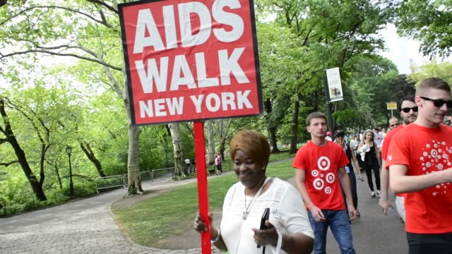 Participants in Central Park during the 30th Annual Fundraising Aids Walk Manhattan New York City USA