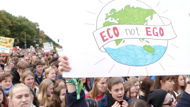 participants in the fridays for future movement protest at the brandenburg gate during a nationwide climate change action day on september 20 2019 in... - klima stock-videos und b-roll-filmmaterial