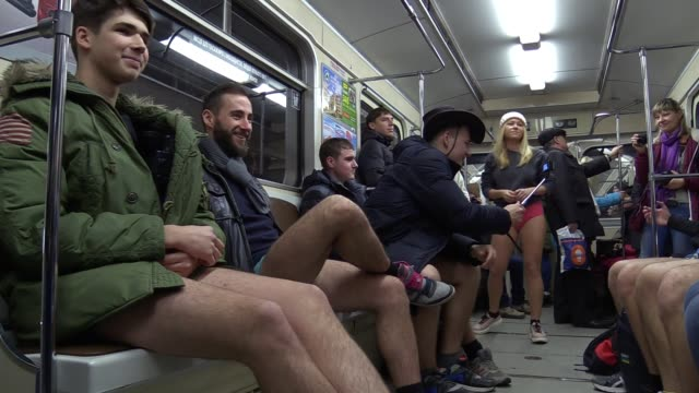 participants not wearing pants ride the subway during flashmob the ride in underpants in kiev's subwayin kievukraine12 november2016 the event is... - flash mob stock videos and b-roll footage