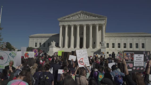 participants of the women's march rally outside the u.s. supreme court on october 17, 2020 in washington, d.c. thousands of women gathered in... - democracy stock videos & royalty-free footage