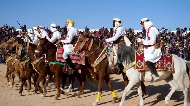 participants on horse perform during the sahara festival on december 21 2018 in douz tunisia the sahara festival in its 51st year brings together... - sahara desert stock videos & royalty-free footage