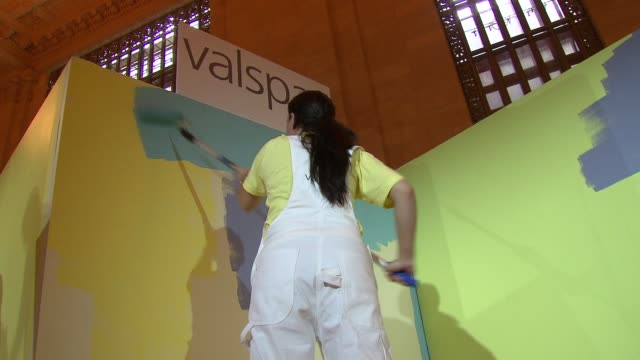participants painting at the claire danes launches valspar's new hidef paint and exhibition at new york ny - claire danes stock videos and b-roll footage