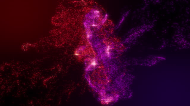 particle ink red and violet colliding with blinking on gradient color background with slow motion shot - splattered stock videos & royalty-free footage