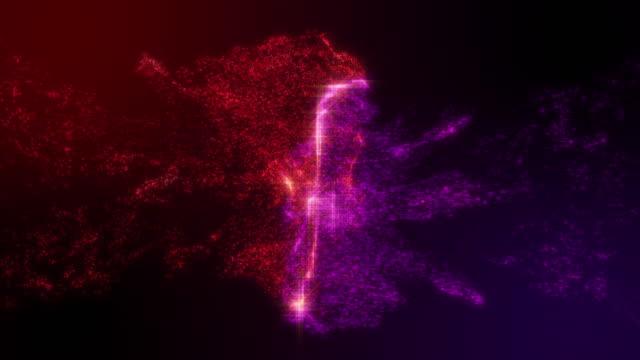 vídeos y material grabado en eventos de stock de tinta de partículas rojo y violeta colisionando con parpadear sobre el fondo de color degradado con disparo a cámara lenta - impacto