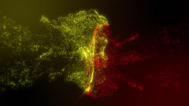 particle ink yellow and red colliding with blinking on gradient color background with slow motion shot - entrare in collisione video stock e b–roll