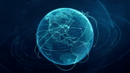 particle world with a growing global network - blue loop