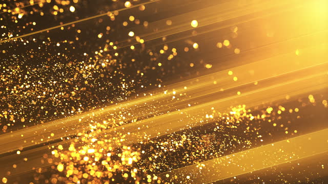 particles and light beams - gold colored, christmas, celebration - abstract background animation - loopable - award stock videos & royalty-free footage