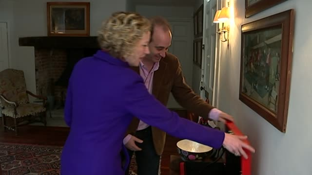 brooks newmark interview england essex int brooks newmark mp showing c4 news reporter cathy newman red ministerial box/ brooks newmark interview sot... - cathy newman stock-videos und b-roll-filmmaterial