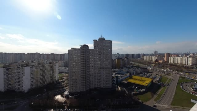 partly cloudy weather in the city 4k timelapse - キエフ市点の映像素材/bロール