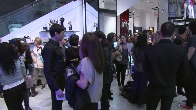 party and guests at the guess and vanity fair celebrate the grand opening of the new 5th avenue flagship store with live performance by jessie j at... - store opening stock videos & royalty-free footage