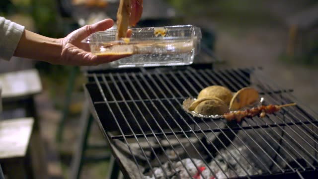 bbq party at night - asparagus stock videos & royalty-free footage
