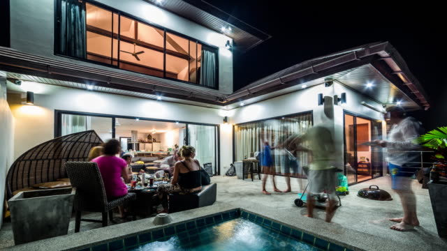 bbq party at the private villa - villa stock videos & royalty-free footage