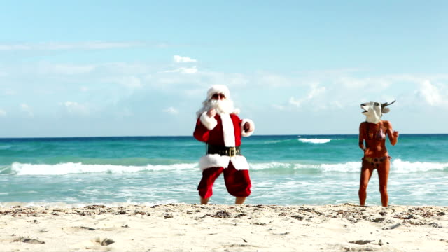 party beach christmas - father christmas stock videos and b-roll footage