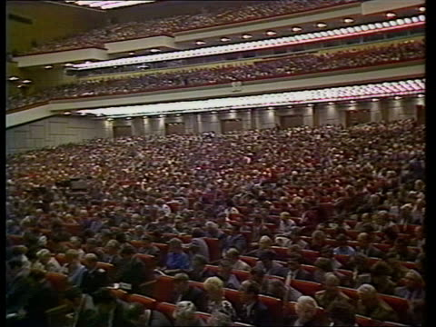 Day two USSR Moscow Palace of Congresses TGV Delegates in conference reception hall TRACK RL GV Delegates seated in conference hall LMS Politburo...