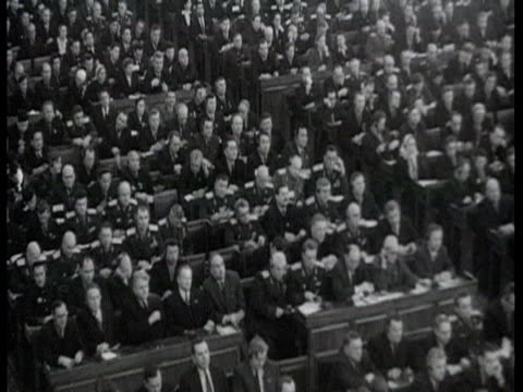 vídeos de stock, filmes e b-roll de party congress audience clapping standing ovation / moscow russia audio - 1960