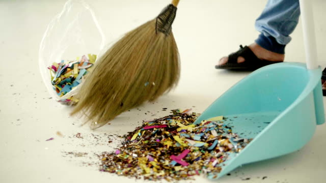 party ended : sweep the floor - clearing stock videos & royalty-free footage