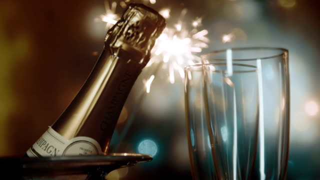 party feeling with sparklers and champagne - still life stock videos and b-roll footage