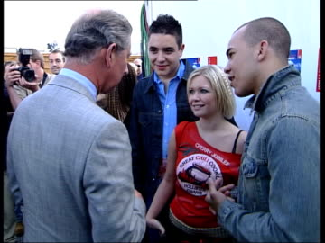party in the park for anniversary of prince's trust; itn pool london: bv charles meeting hear'say backstage pop band, atomic kitten, present prince... - プリンスズトラスト点の映像素材/bロール