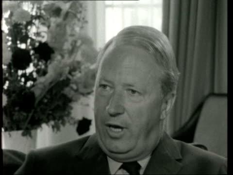 party leader activities: edward heath; d) england: london: mr heath's london flat: int edward heath interview sof - edward heath stock-videos und b-roll-filmmaterial