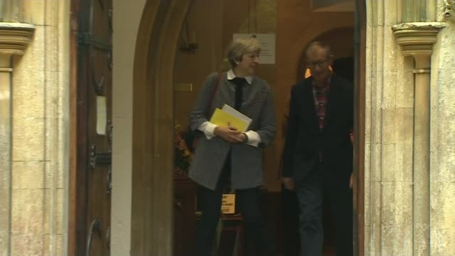 party leaders' christmas messages lib / t08101701 berkshire sonning ext prime minister theresa may and husband philip leaving church / akrotiri int... - husband stock videos & royalty-free footage
