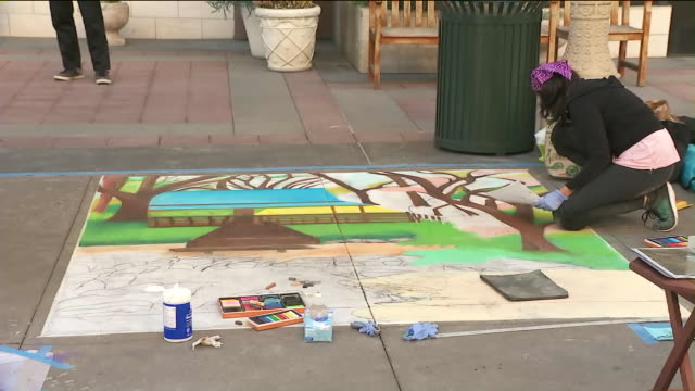 pasadena chalk festival. - chalk art equipment stock videos & royalty-free footage