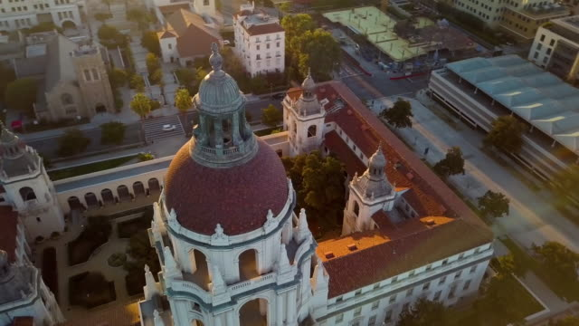 pasadena city hall- moving drone shot - pasadena california stock videos & royalty-free footage