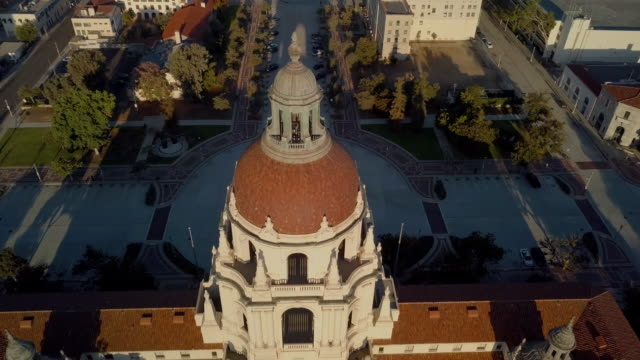 pasadena city hall- over the top moving drone shot - pasadena california stock videos & royalty-free footage