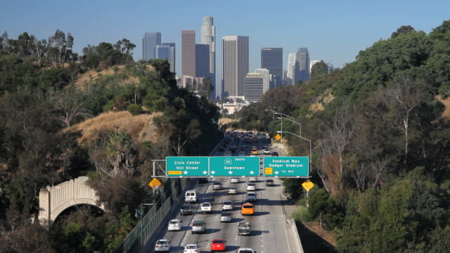 Pasadena Freeway (CA Highway 110) Leading to Downtown Los Angeles, California, United States of America