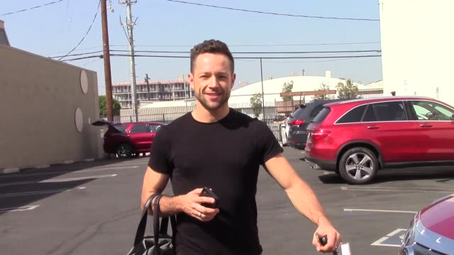 interview pasha pashkov talks about his partner's performance outside the dwts rehearsal studio in hollywood in celebrity sightings in los angeles - dancing with the stars stock videos & royalty-free footage