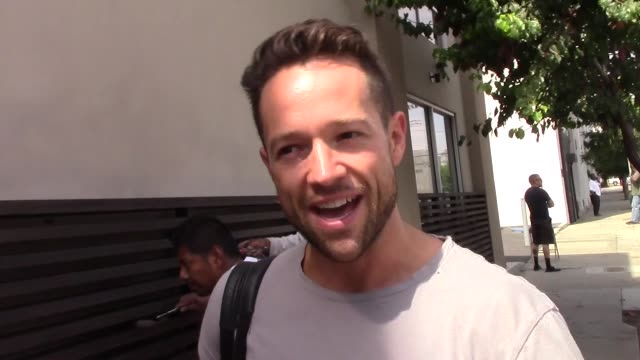interview pasha pashkov talks about movie week outside the dwts rehearsal studio in hollywood in celebrity sightings in los angeles on - dancing with the stars stock videos & royalty-free footage