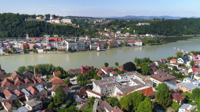 passau and inn river from the south - inn river stock videos and b-roll footage