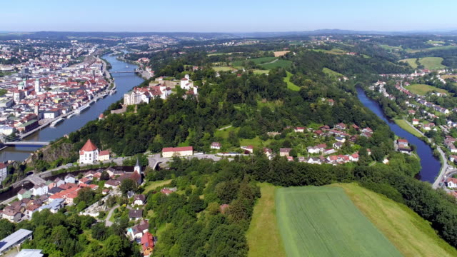 passau from the east - river danube video stock e b–roll