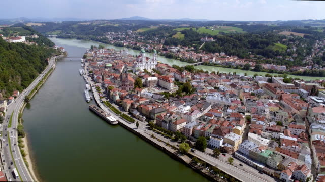 passau from the northwest - river danube video stock e b–roll