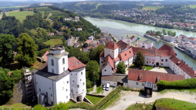 passau veste oberhaus and the old town - town stock videos & royalty-free footage