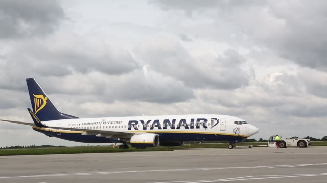 passenger aircraft operated by ryanair holdings plc are seen on the tarmac at stansted airport operated by manchester airports group in stansted uk... - ライアンエアー点の映像素材/bロール
