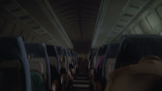 ms passenger area of jet during crash situation, explosion and fire in forward cabin - terrified stock videos & royalty-free footage
