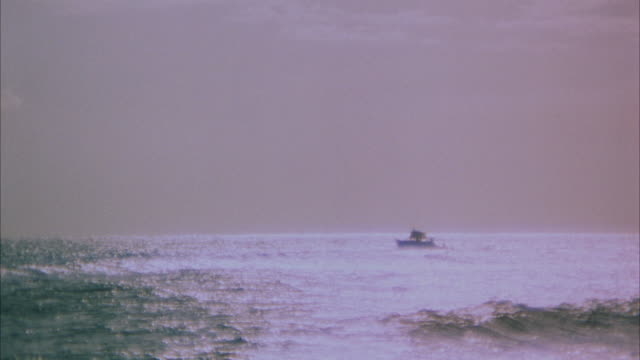 1967 ws zi passenger boat at sea during sunset - anno 1967 video stock e b–roll