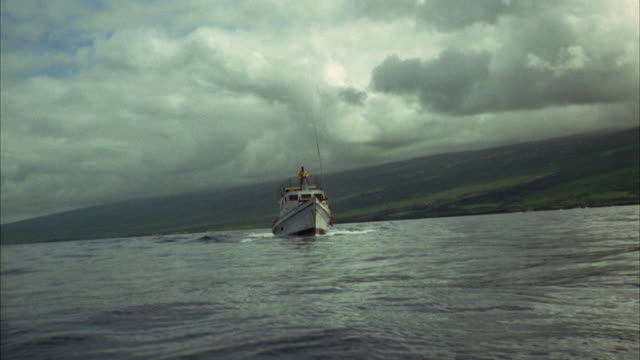 1967 WS POV PAN MS Passenger boat moving past camera