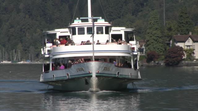 passenger boat on the lake lucerne - lake lucerne stock videos & royalty-free footage