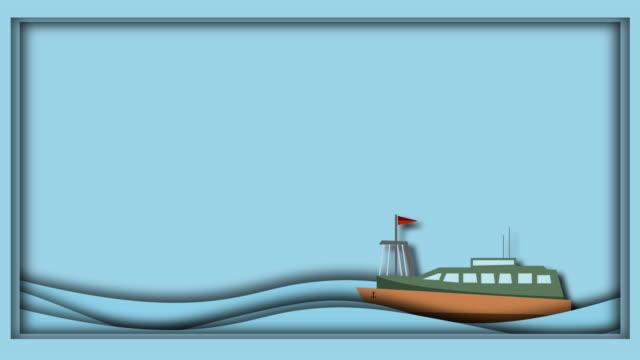 vidéos et rushes de les bateaux à passagers naviguent sur la mer avec de l'espace pour le texte, les idées, l'origami, l'animation - illustration